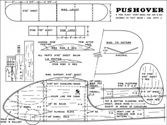 Pushover 33in model airplane plan