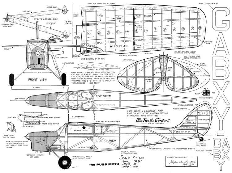 Puss Moth model airplane plan