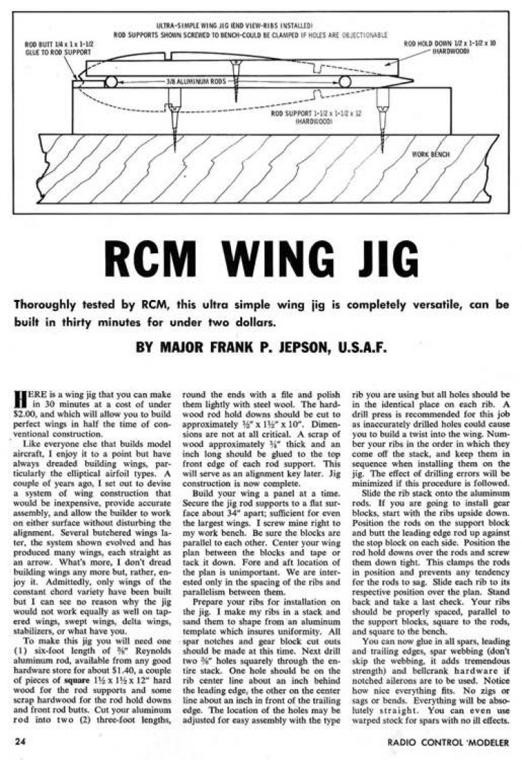RCM Wing Fixture model airplane plan