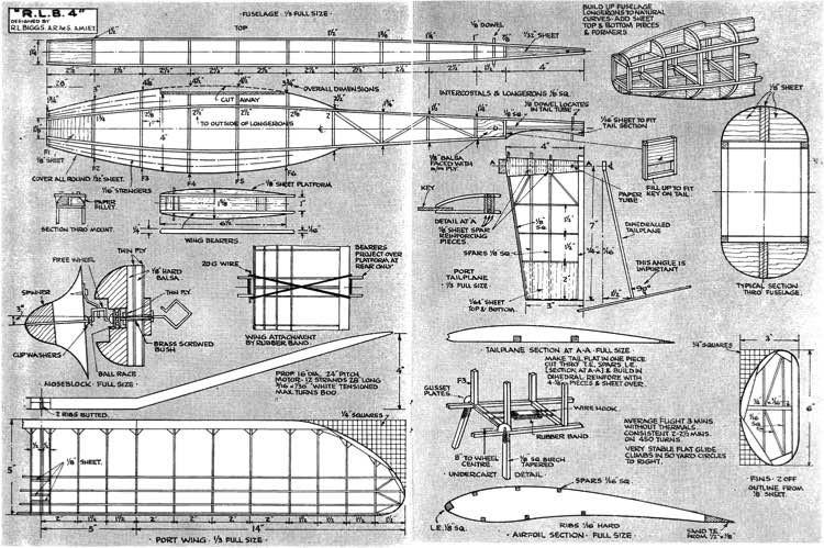 R.L.B.4 Rubber Duration model airplane plan