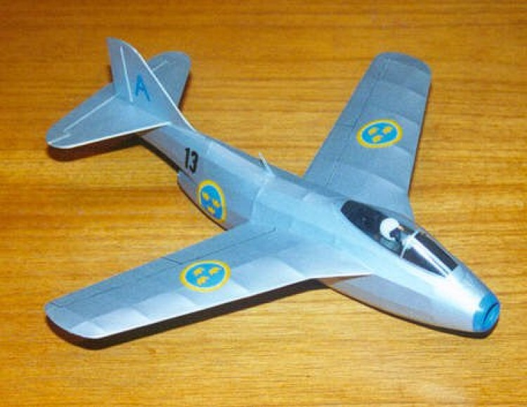 SAAB J-29B Tunnan model airplane plan