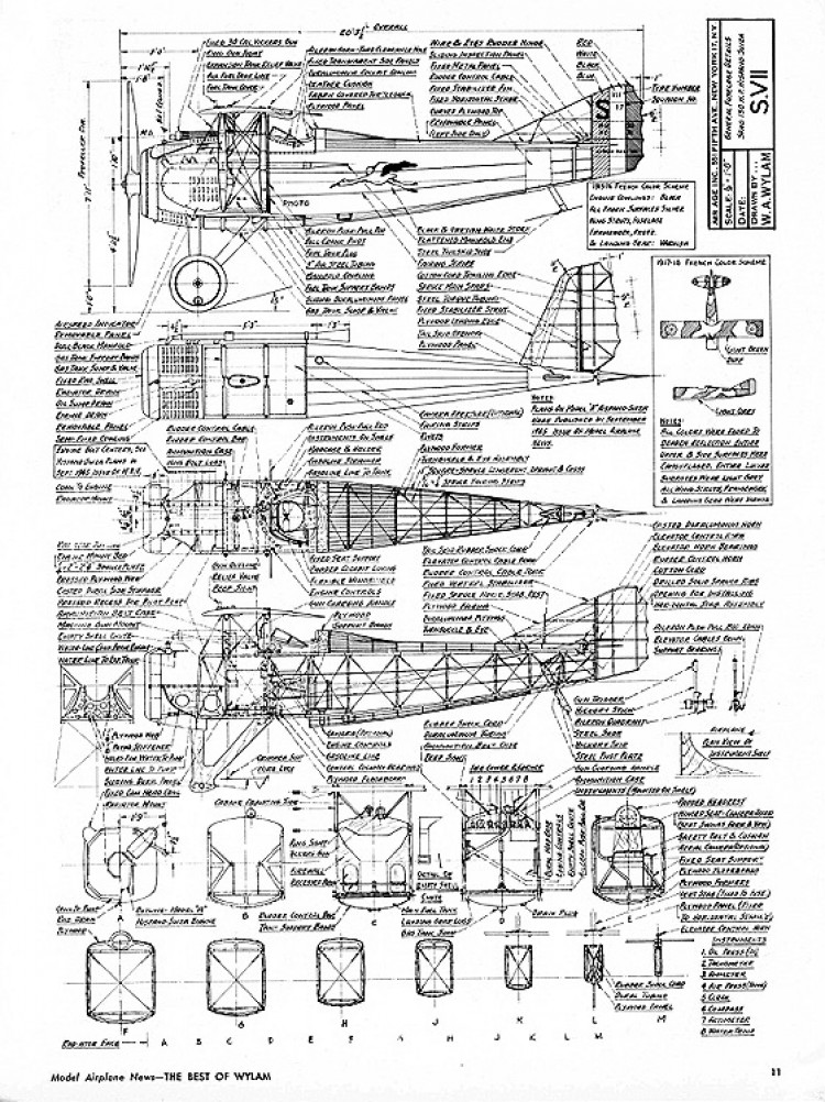 SPAD S VII model airplane plan