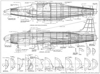 P-80 Shooting Star model airplane plan