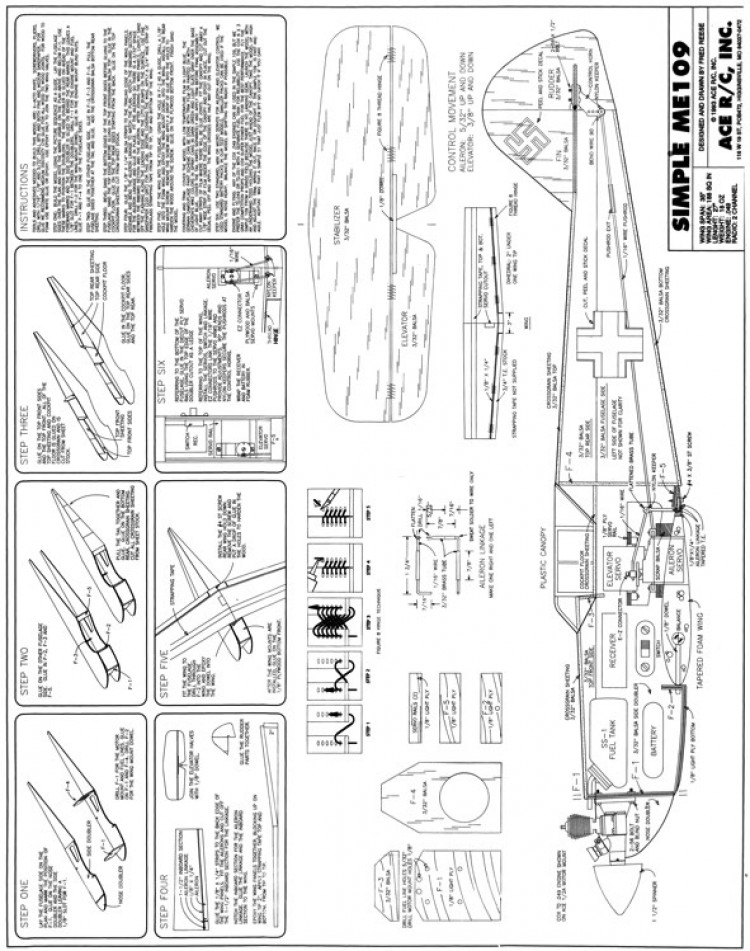 Simple Me-109 model airplane plan