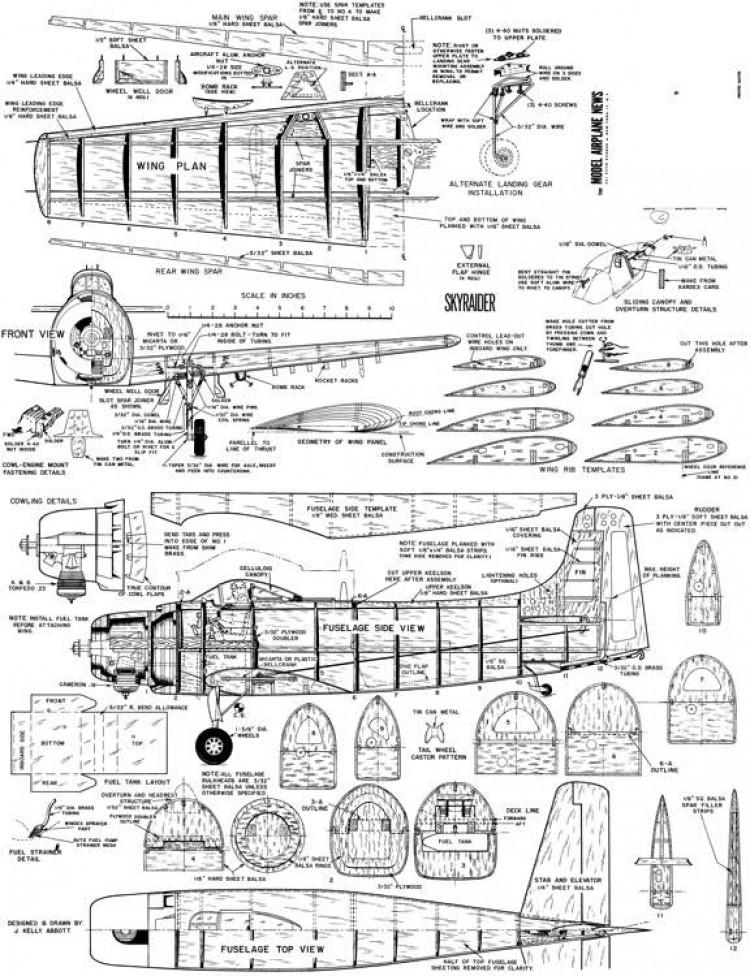 Skyraider model airplane plan