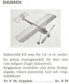 Snurren I model airplane plan