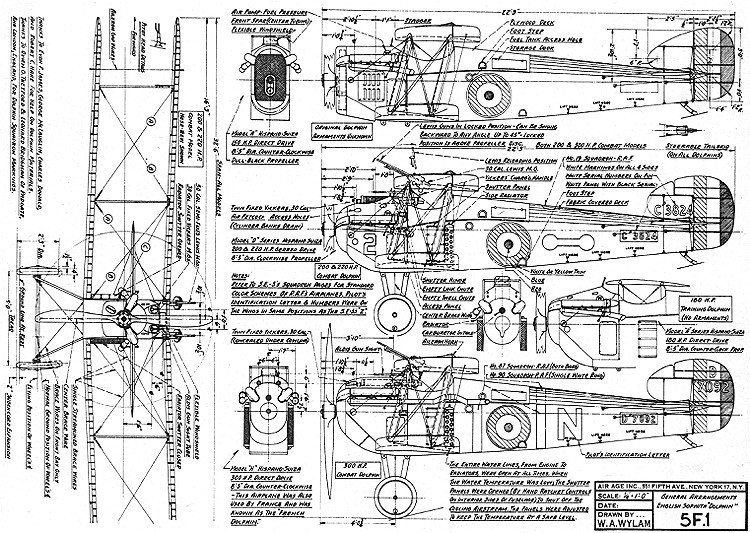 Sopwith Dolphin 5F-1 model airplane plan