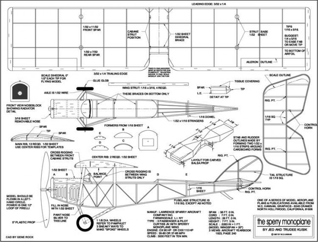 Sperry Monoplane model airplane plan