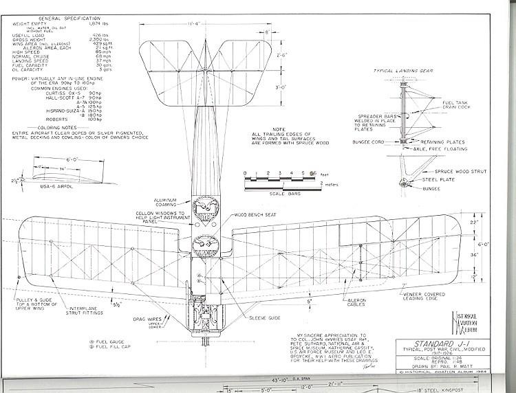 Standard J-1 model airplane plan