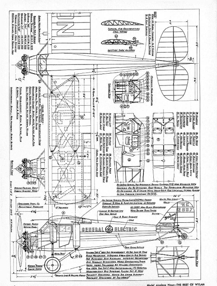 Stinson Jr SM-2 model airplane plan