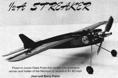 Streaker 1/2A model airplane plan
