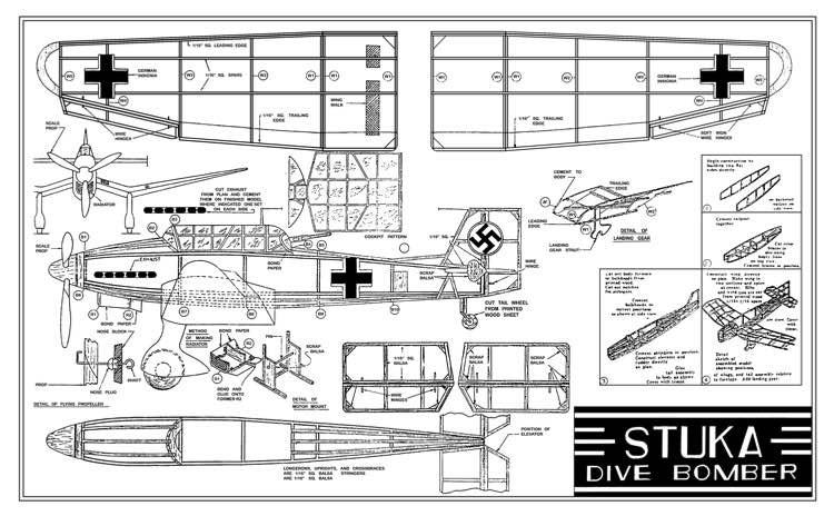 Stuka Dive Bomber 15in Burd Models model airplane plan