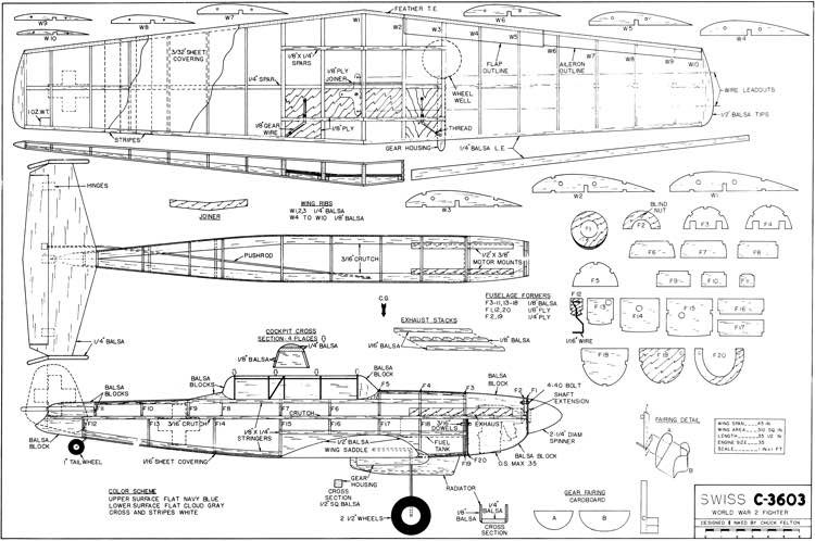 Swiss C-3603 45in model airplane plan