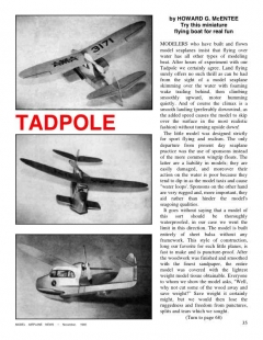Tadpole model airplane plan