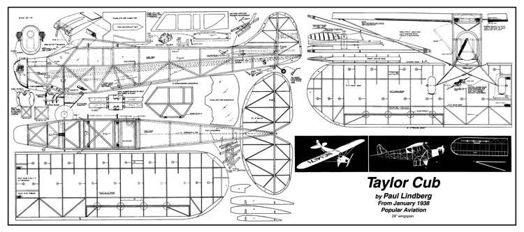 Taylor Cub 29in model airplane plan