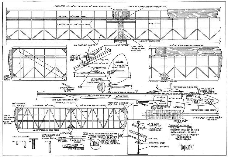 Topkick A1 glider model airplane plan