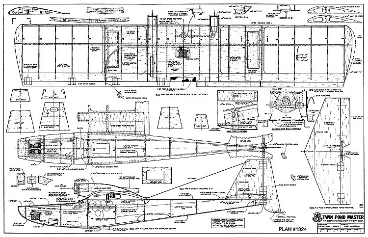 Twin Pond Master RCM model airplane plan
