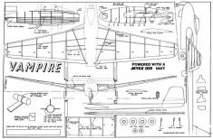 Vampire Jetex model airplane plan