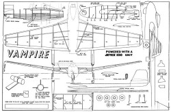 Vampire Jetex model airplane plan