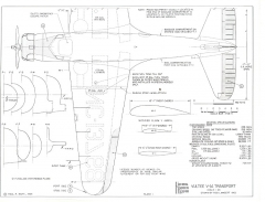 Vultee V1A Transport model airplane plan