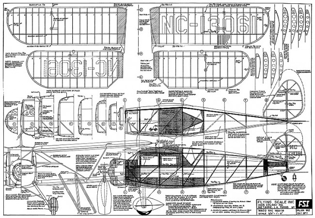 Waco UIC 1932 FSI-W2 model airplane plan