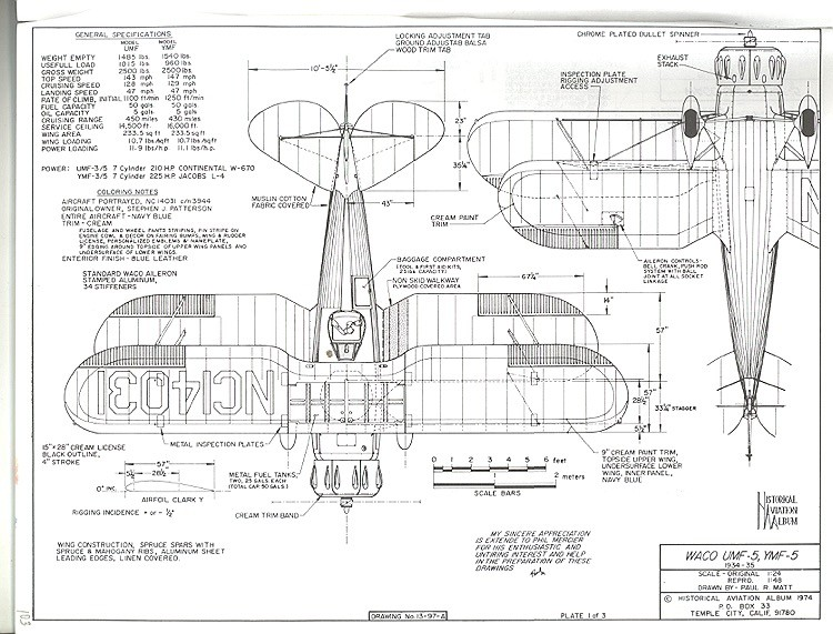 Waco UMF-5 YMF-5 model airplane plan