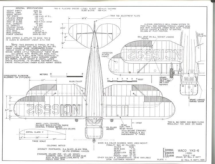 Waco YKF-6 model airplane plan