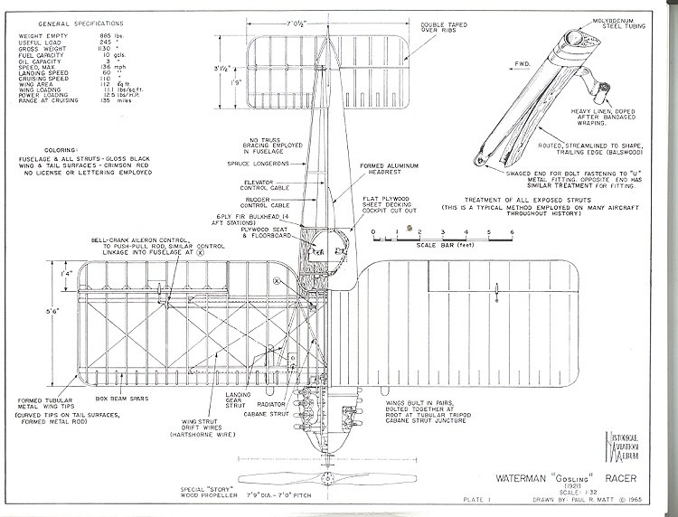 Waterman Gosling Racer model airplane plan