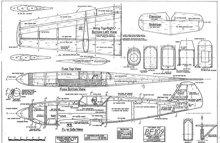 bf-109 1-12 combat model airplane plan