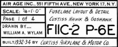 Curtiss Hawk P-6E & Goshawk FIIC-2 model airplane plan