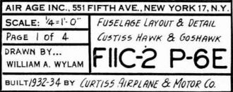 Curtiss Hawk P-6E & Goshawk FIIC-2 model airplane plan