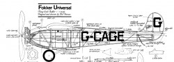 Fokker Universal model airplane plan