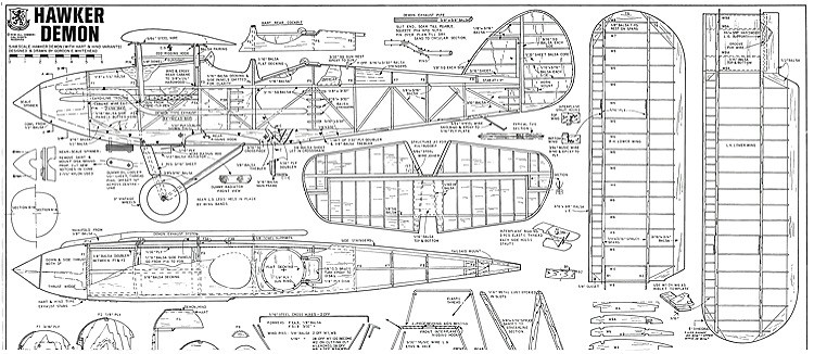 Hawker Demon 72 in model airplane plan