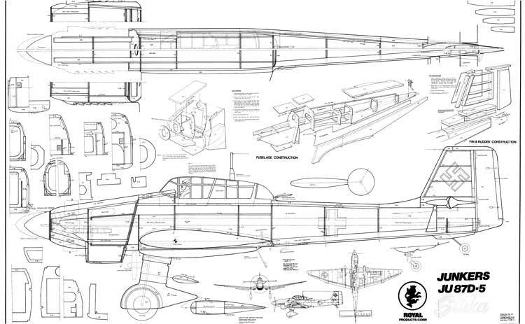 Junkers Ju 87D-5 Stuka model airplane plan