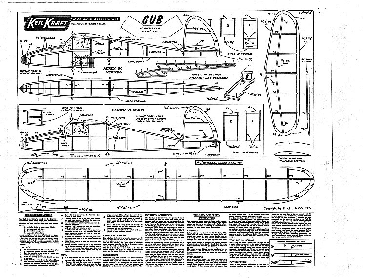 Cub Keil Kraft model airplane plan