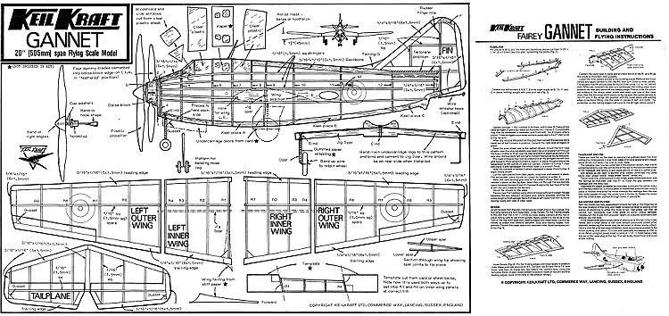 Fairey Gannet Keil Kraft model airplane plan