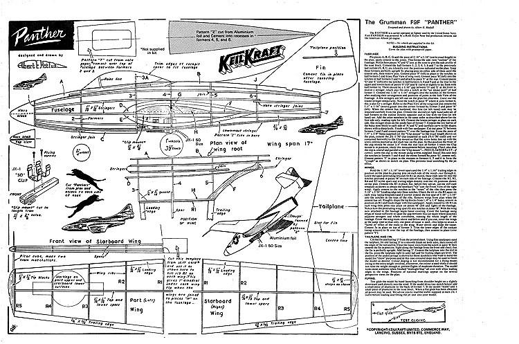 Grumman F9F Panther  Keil Kraft model airplane plan
