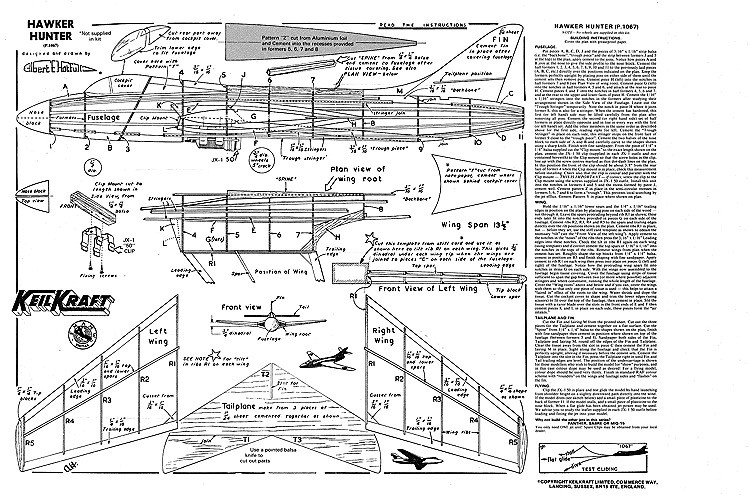 Hawker Hunter Keil Kraft model airplane plan