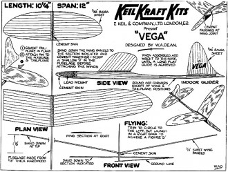 Vega Chuck Glider Keil Kraft model airplane plan