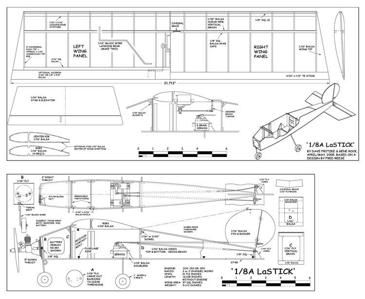 LaStick model airplane plan