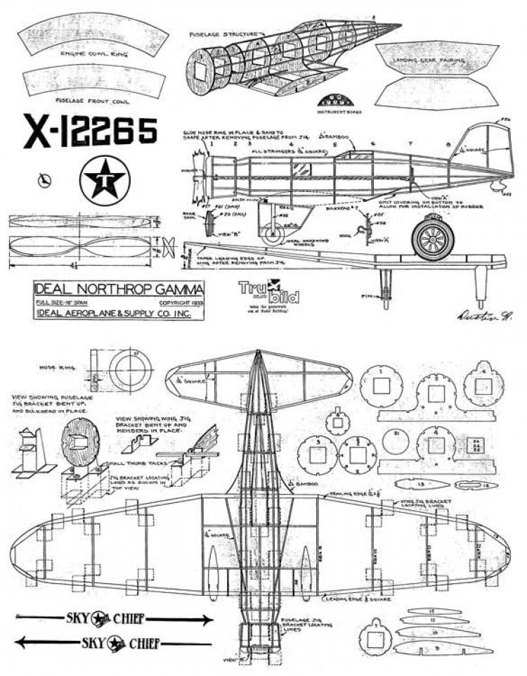 Northrop Gamma 16 model airplane plan