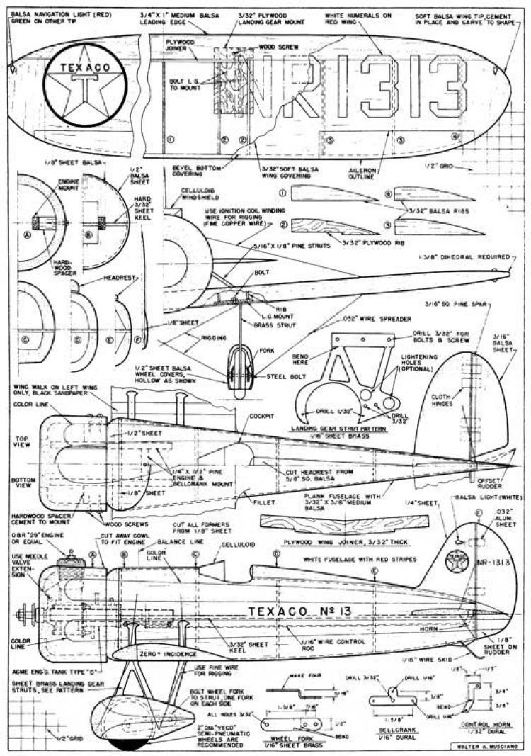 Texaco 13 model airplane plan
