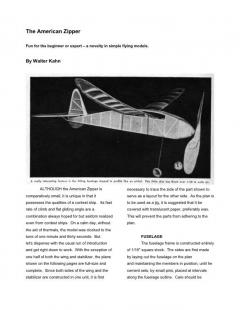 American Zipper model airplane plan