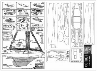 Comet Kit Redraw- Gypsy Sloop Jr. - 10.75 in hull length Comet kit no. J-1 model airplane plan
