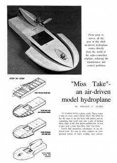 Miss Take Hydroplane model airplane plan