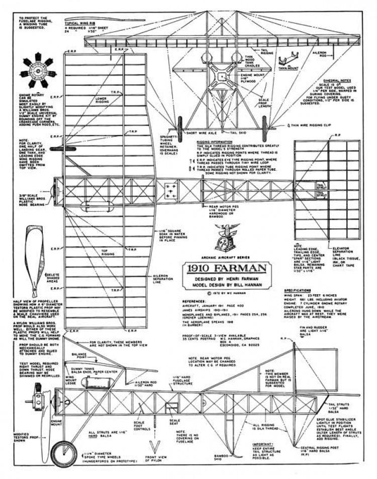 1910 Farman model airplane plan