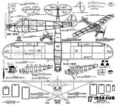 1938 Cub Sport 17in model airplane plan