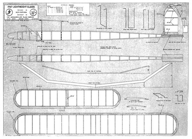 1947 Lightweight Glider model airplane plan