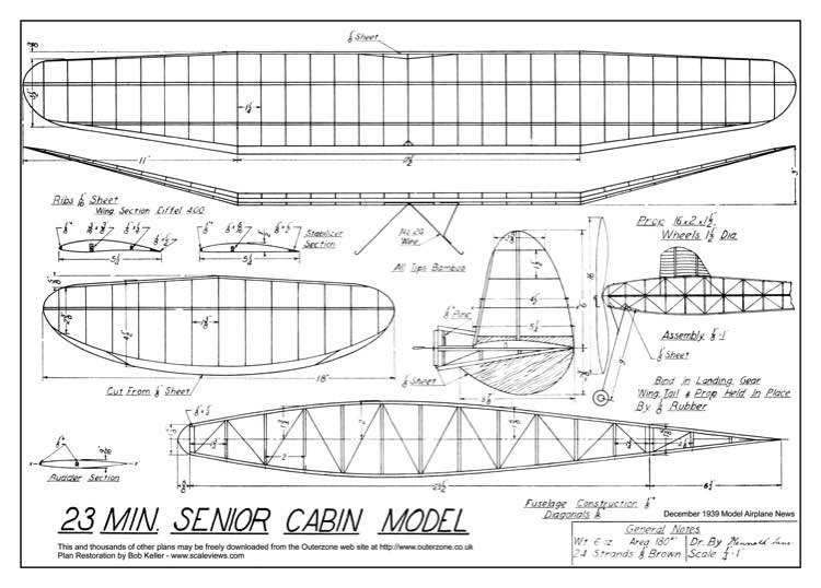 23 minute senior cabin model plan model airplane plan
