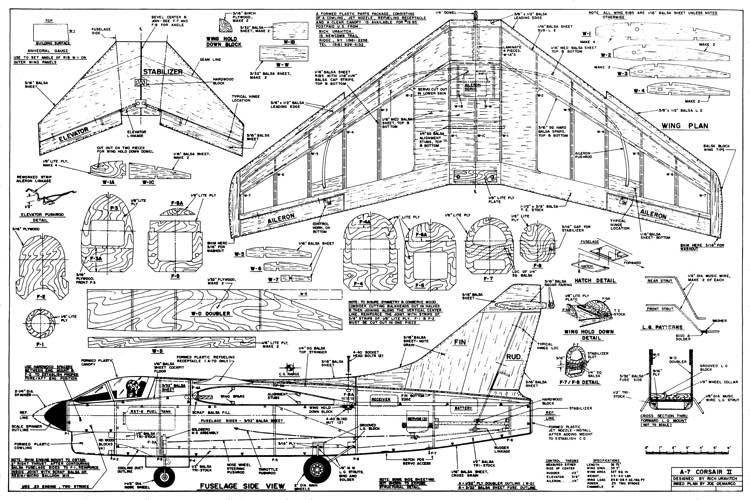 A7 Corsair II model airplane plan